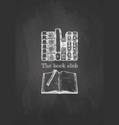Old books on blackboard vector