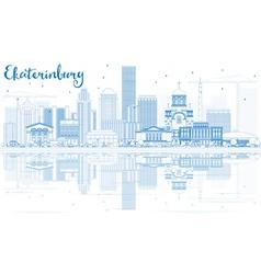 Outline Ekaterinburg Skyline with Blue Buildings vector image vector image