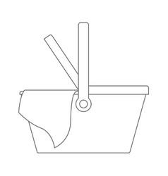 picnic basket icon in monochrome silhouette vector image