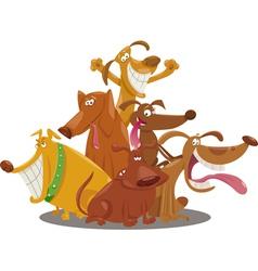 Playful dogs group cartoon vector