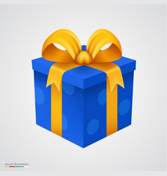 present blue box with golden ribbon vector image vector image