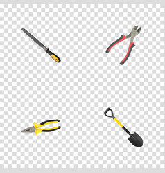 realistic spade sharpener pliers and other vector image