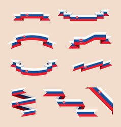 Ribbons or banners in colors of slovak flag vector