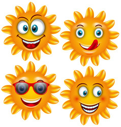 Set smiling sun cartoon characters vector