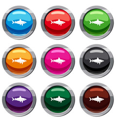 shark fish set 9 collection vector image vector image