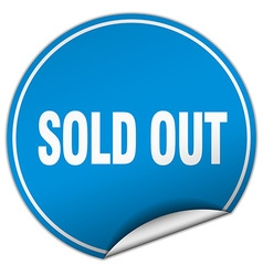 Sold out round blue sticker isolated on white vector