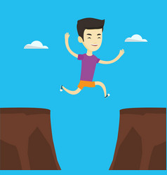 sportsman jumping over cliff vector image