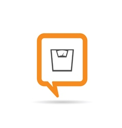 square orange speech bubble with scale for man vector image vector image