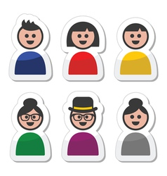 User young and old people icons set vector