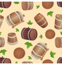 Wooden barrels set vector