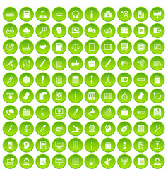 100 office work icons set green circle vector