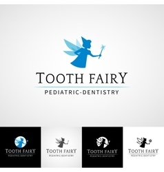 Tooth fairy dental logo template Teethcare icon vector image