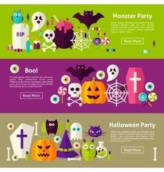Halloween party web horizontal banners vector