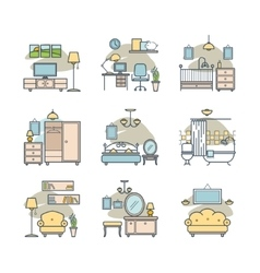Home room icons set vector
