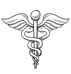 Doodle caduceus medical symbol vector