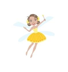 Cute fairy in yellow dress girly cartoon character vector