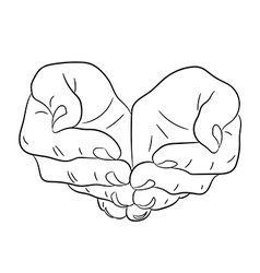Two open empty hands asking gesture vector