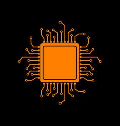 cpu microprocessor orange icon on vector image