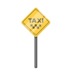 Taxi stop road sign parking zone for yellow taxi vector