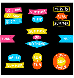 Summer doodle phrase collection vector