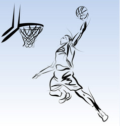 line sketch of a basketball player vector image
