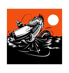 Fisherman fishing and sea serpent vector