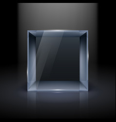Empty glass showcase in cube form for presentation vector