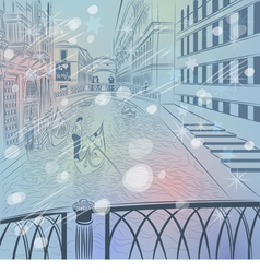 Winter christmas venice cityscapes vector