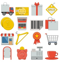 Flat icons retail vector