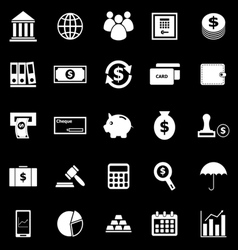 Banking icons on black background vector image