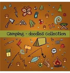 Camping - doodles collection vector