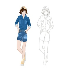 Girl denim fashion asian color no 2 vector