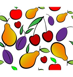 Pears apples plums and cherry seamless pattern vector