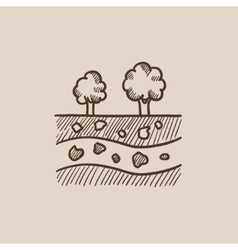 Cut of soil with different layers and trees on top vector
