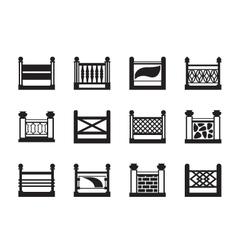 Various railings for balconies vector