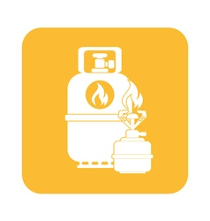 Camping stove with gas bottle ico vector