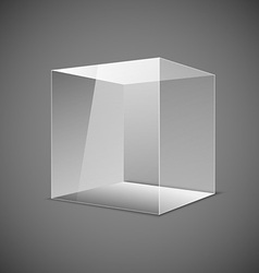 Abstract transparent box on grey background EPS 10 vector image