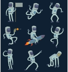 Astronauts in space working and having fun vector