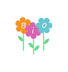 Bio logo flowers vector