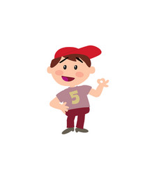 Cartoon character white boy with red cap in approv vector