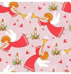 Christmas pattern with angels flying in the sky vector image