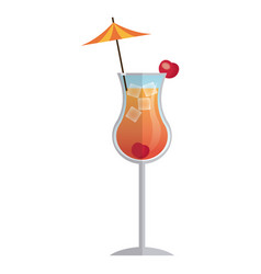 cocktail drink beverage with umbrella and cherry vector image