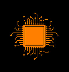 cpu microprocessor orange icon on vector image