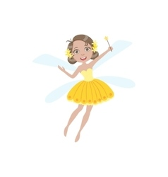 Cute Fairy In Yellow Dress Girly Cartoon Character vector image vector image