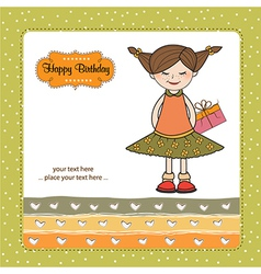 Excited young girl she hide a special gift vector