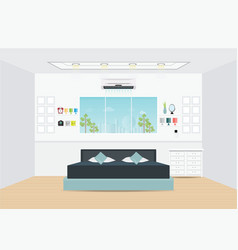 flat design double bedroom with furniture vector image