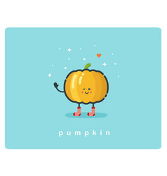 Flat icon of pumpkin cute cartoon character vector