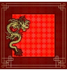 Frame red dragon gold-colored sticker 6 vector