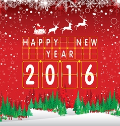 Happy New Year 2016 Santa Claus and reindeer The vector image vector image