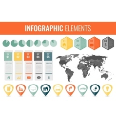 Infographic Elements Set World map markers vector image vector image